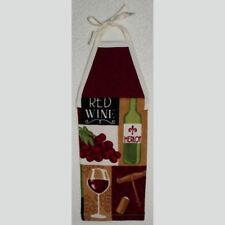 hanging kitchen towel RED WINE MERLOT tie straps padded machine quilted top