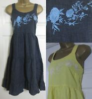 NEW Next Linen Blend Strappy Dress Summer Beach Embroidered Yellow Blue 6-26