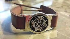 Irish Wide Pewter Brown Adustable Bracelet Celtc Cross