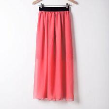 Women Double Layer Chiffon Pleated Retro Long Maxi Dress Elastic Waist Skirt 117
