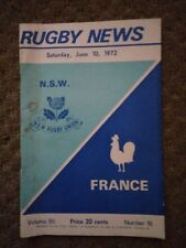 Rugby news NSW vs France Rugby union June 10 1972