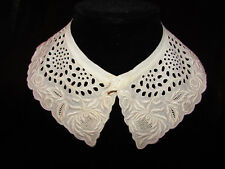 Vintage / Antique Ivory Collar with Embroidery & Open Cut Work