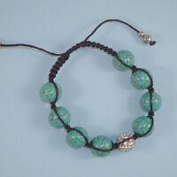 Turquoise Shamballa NEW Friendship Bracelet Black Cord Silver Pave Bead USA