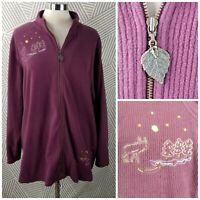 CJ Banks Cardigan Sweater Jacket Plus Size 3X 22/24 Moose Bear Cabin Embroidered