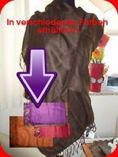 Damen Paschmina Tuch Schal Stola Fransen 180x55 dunkel Braun Lila Orange Rot NEU