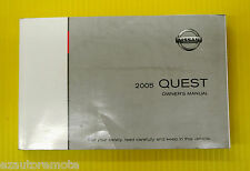 Quest Minivan Mini Van 05 2005 Nissan Owners Owner's Manual All Models & Engines