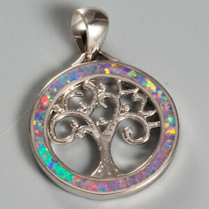 Lavender Purple Fire Opal Tree of Life Silver Jewellery Pendant for Necklace