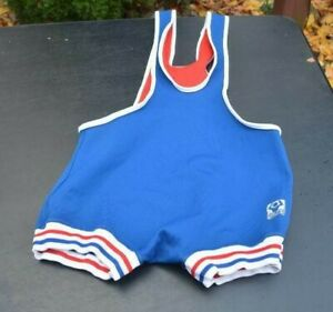 Vtg! BRUTE Singlet-Wrestling/Lifting/MMA One-Piece Red/White/Blue Adult Small?