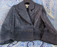 Vintage NWOT Wool Blend Fully Sequined Black Cropped Blazer by Spiegel Size L