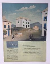 Original Print Ad 1950 DE BEERS Diamond Pastoral Honeymoon Jean Hugo Vintage Art