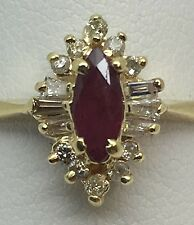 14K YELLOW GOLD GENUINE RUBY AND DIAMOND BALLERINA STYLE RING SZ. 7.5