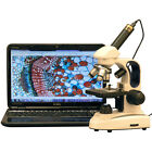 AmScope 40X-1000X Cordless LED Top & Bottom Lights Compound Microscope + Camera