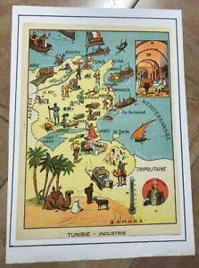 TUNISIA NICE PICTORIAL MAP 1930 XXe CENTURY