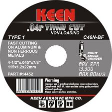 Raised Hub Slice-It Cut-Off Wheel 6 x .045 x 7//8 KEEN ABRASIVES 59129 Box of 50
