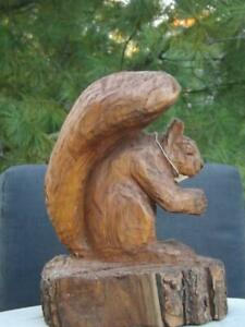 Chainsaw Wood Squirrel Sculpture Signed by Brian Ruth