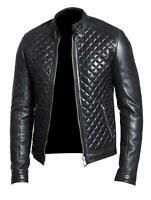 Genuine Leather Jacket Motorcycle Men's Bomber Quilted Biker Cafe Racer Black
