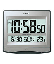 CASIO ID-14S-8 Digital Wall Table Clock Thermometer Auto-Calendar Silver