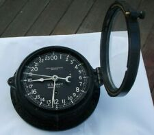 "RARE Vintage 7.5"" Chelsea Ship's Clock Key Wind US Navy Military 61475 Boston NR"