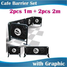Cafe Barrier Set 2x2m+2x1m Coffee Barriers with Graphics