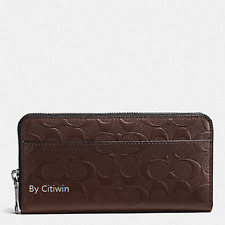 New Coach F75372 Men's Accordion Wallet Signature Crossgrain Leather-Mahogany