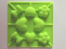 Small Green 8 Cavity Lollipop Hard Candy Chocolate Making Silicone Mold