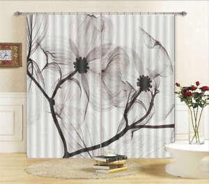 Black White Flowers 3D Curtain Blockout Photo Print Curtains Drape Fabric Window