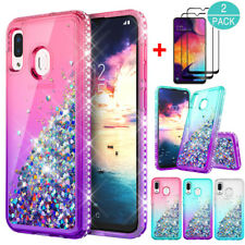 For Samsung Galaxy A20 Shockproof Bling Armor Clear Case Cover+Screen Protector