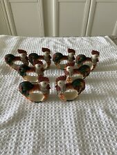 Vintage Chicken~Hen~ Rooster 8 Napkin Rings Farmhouse~Country Super Condition