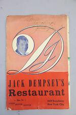 JACK DEMPSEY RESTAURANT MENU AUTOGRAPH SIGNED NEW YORK CITY BOXING MEMORABILIA