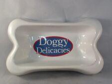 """Doggy Delicacies White Dog Bone Shaped Dog Food Bowl 10-1/2"""" x 6-1/2"""""""