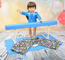 Gymnastics Balance Beam for American Girl Doll or 18 inch doll w/mat & carry bag