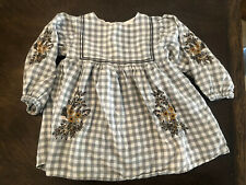 Zara Girl's Size 18/24m Dress Grey Checkered Floral Embroidered Boho
