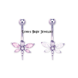 Dragonfly * Clear Pink CZ * Surgical Steel Belly Ring