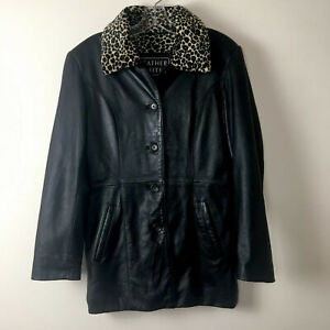 Leather Limited Jacket Coat Leopard Print Liner Women's Size Small Black