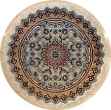 Rugstc 5x5 Pak Persian Blue Area Rug, Hand-Knotted,Floral with Silk/Wool Pile