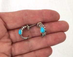 Carolyn Pollack Relios Sleeping Beauty Turquoise & Sterling Silver Hoop Earrings