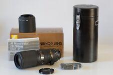 Comme neuf - AF Micro-Nikkor 200mm f/4D IF-ED avec boîte d'origine + Parasoleil