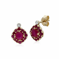 Gemondo 9ct Yellow Gold Ruby & Diamond Square Cluster Stud Earrings
