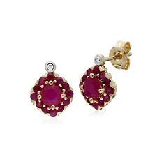 Gemondo 9ct Oro Giallo Rubino e Diamante Quadrato Orecchini a Lobo a Grappolo