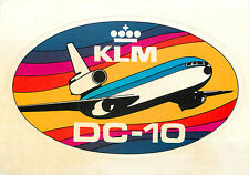 DC-10 ~KLM AIRLINE~ Unique Old Combination Luggage Label AND Picture Postcard