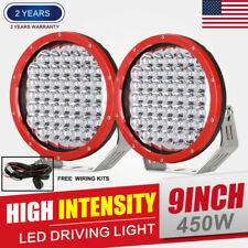 Pair 9inch 450W CREE LED Driving Lights Spotlights Round Spot Work Red Offroad