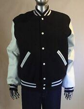 Vintage 90s, University Varsity Jacket, Size M, Black, White leather