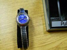 Pulsar Woman's Watch Blue Crystal Y433-0010 NEW Battery Runs Vintage Quartz