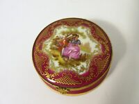 Antique Limoges SA Crown Castle Fuschia Gold Victorian Porcelain Trinket Box