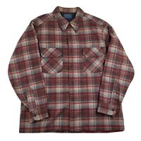 Vintage Pendleton Men's Large Red Plaid Long Sleeve Button Up Wool Board Shirt