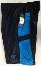NWT Mens Athletic Shorts UMBRO UX-Training Climate Control Black/Pacific Blue  S