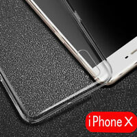 2PCS Clear Back Case TPU Protective Bumper Slim Crystal Cover For Apple iPhone X