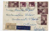 STORIA POSTALE1949 REP.DEMOCRATICA L.20+50 SU RACC. DIRETTA IN CANADA25/3 D/8582