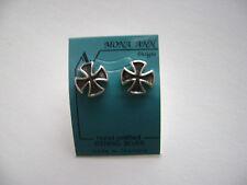 Sterling Silver Medium Iron Cross Stud Earrings New