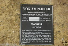 1 JMI VINTAGE  AC30 REPRODUCTION MANUFACTURING INFO PLATE VOX 1960'S AMPS TYPE 7